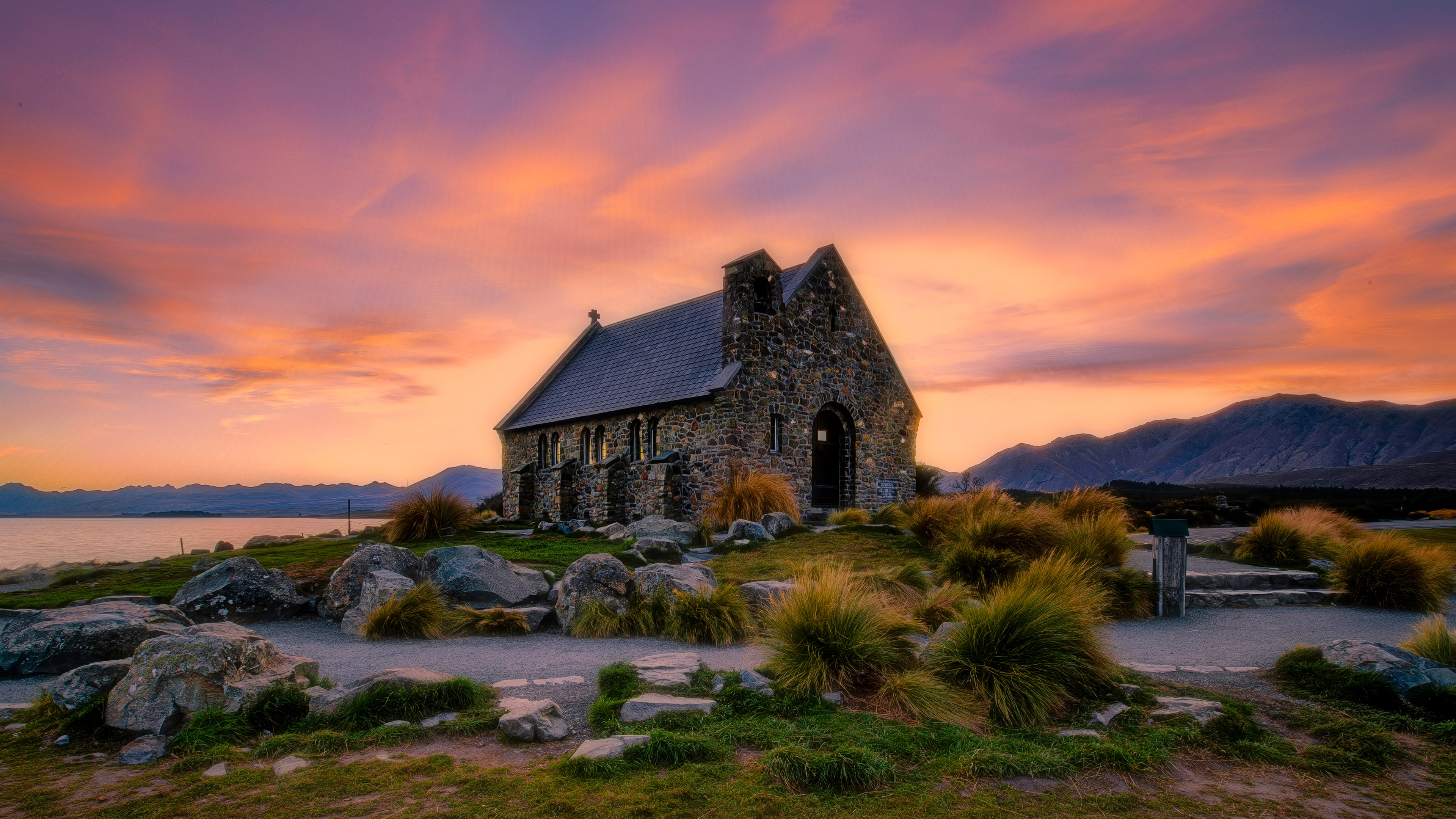Small Church At Sunset 4k Ultra Fondo De Pantalla Hd Fondo
