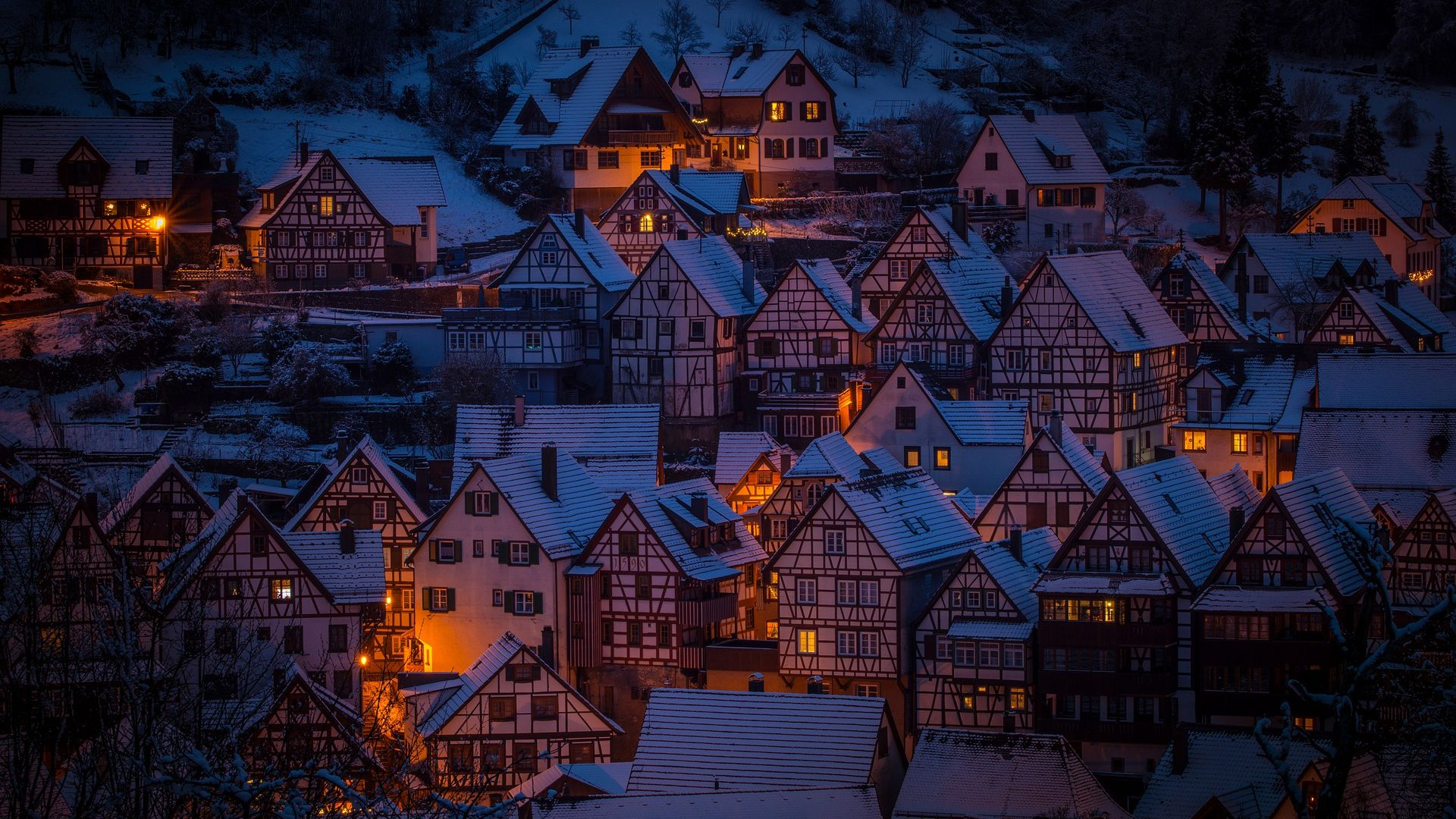 Winter Night In The City Hd Wallpaper Background Image