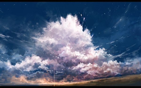 Anime Original Sky Cloud Field HD Wallpaper   Background Image