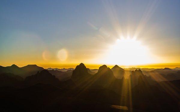 Earth Mountain Mountains Sahara Desert Algeria Africa Hoggar Mountains Sunrise Sky Light Tassili N'Ajjer Assekrem HD Wallpaper | Background Image