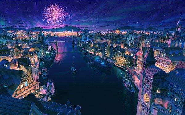 Anime Original City Fireworks Boat Bridge Stars Night River HD Wallpaper   Background Image