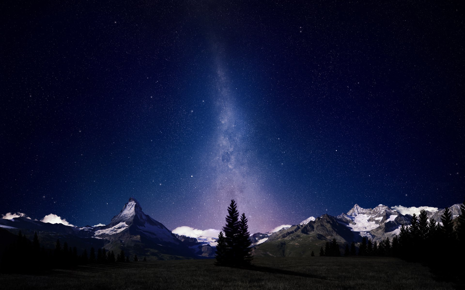 Photography - Manipulation  Earth Photoshop Stars Sky Night Mountain Artistic Wallpaper