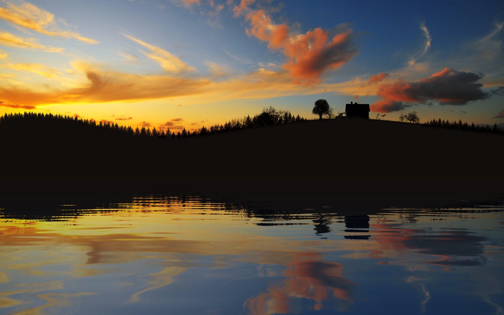 Tierra/Naturaleza - Atardecer  Reflejo Agua Casa Nube Lago Fondo de Pantalla