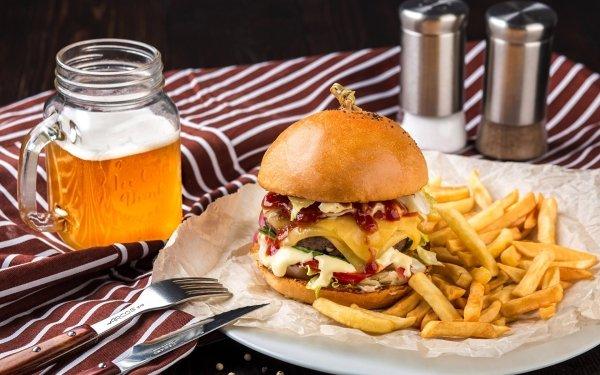 Food Burger Beer French Fries Hamburger HD Wallpaper | Background Image