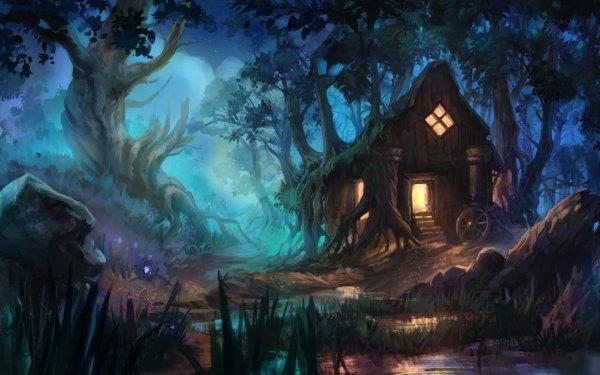 Fantaisie Maison Nuit Forêt Fond d'écran HD   Arrière-Plan