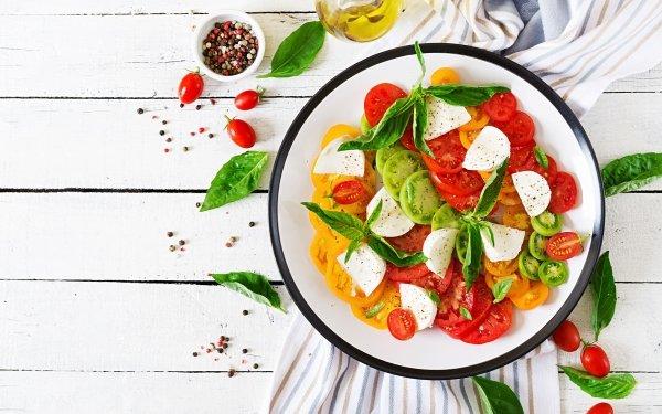Alimento Tomate Frutas Ensalada Bodegón Vegetable Plate Mozzarella Fondo de pantalla HD | Fondo de Escritorio