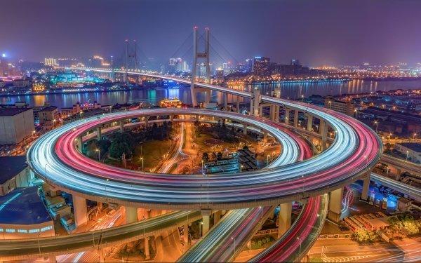 Man Made Highway Time-Lapse Road Bridge Night Shanghai China Nanpu Bridge HD Wallpaper | Background Image