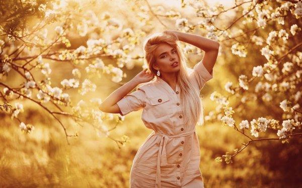 Women Model Models Blonde Long Hair Blossom Depth Of Field HD Wallpaper | Background Image