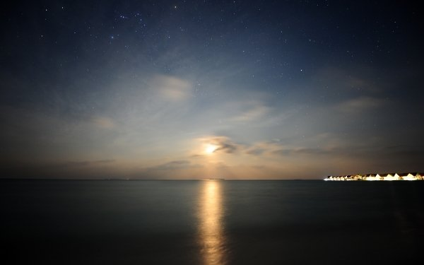 Earth Sunset Nature Ocean Night Moonset Cloud Reflection Light Hotel HD Wallpaper | Background Image