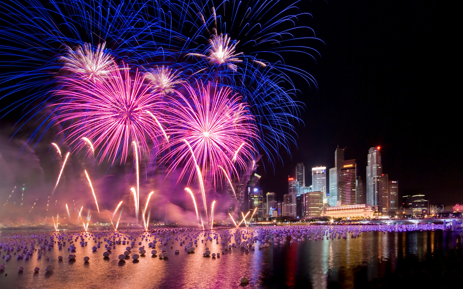 Fireworks on New Yearu0027s Eve, Singapore HD Wallpaper  Background