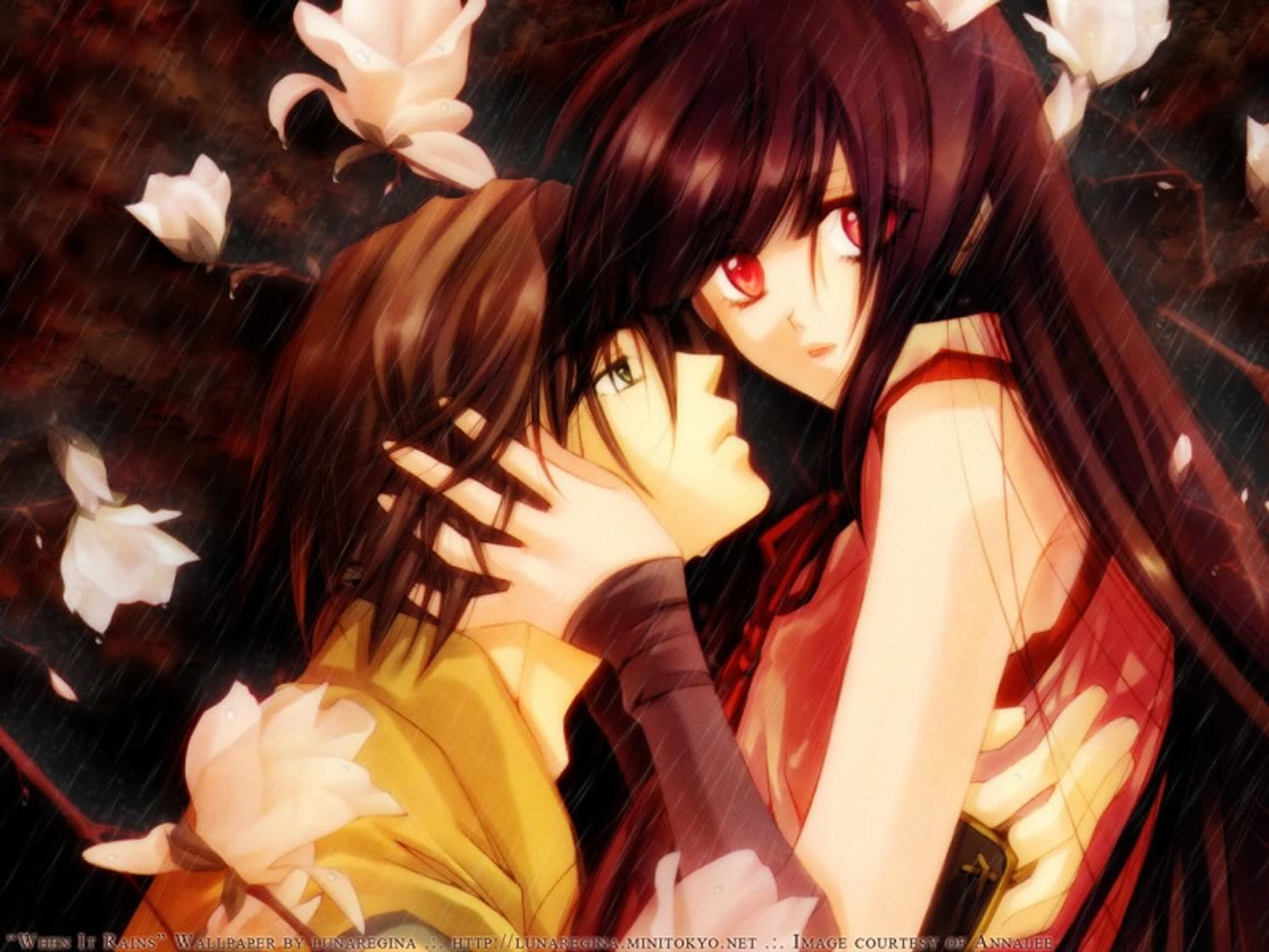 Anime - Original  Rain Fall Love Anime Wallpaper