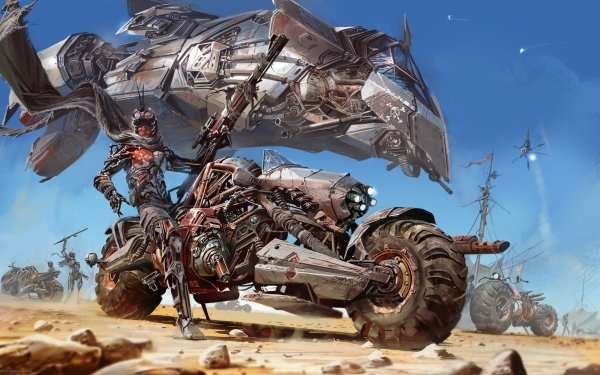 Sci Fi Cyborg Motorcycle Vehicle Post Apocalyptic Futuristic Weapon HD Wallpaper | Background Image