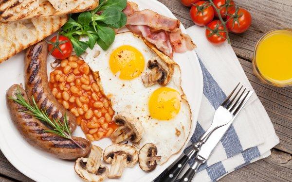 Alimento Desayuno Huevo Tomate Champiñón Sausage Plate Bodegón Fondo de pantalla HD | Fondo de Escritorio