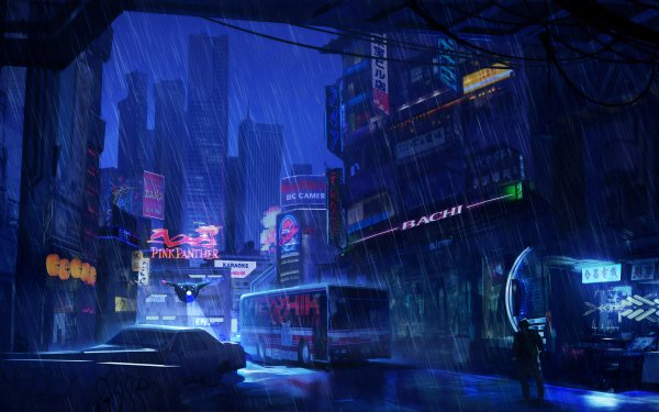 Sci Fi City Skyscraper Night Rain Cyberpunk HD Wallpaper | Background Image