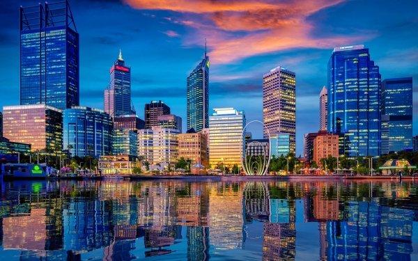 Man Made Perth Cities Australia City Reflection Building Skyscraper Western Australia HD Wallpaper   Background Image