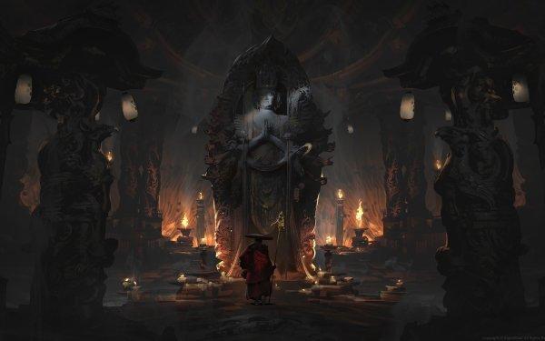 Fantasy Temple Statue Deity Monk HD Wallpaper | Background Image