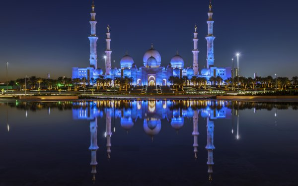 Religious Mosque Mosques Reflection Building Night United Arab Emirates HD Wallpaper | Background Image