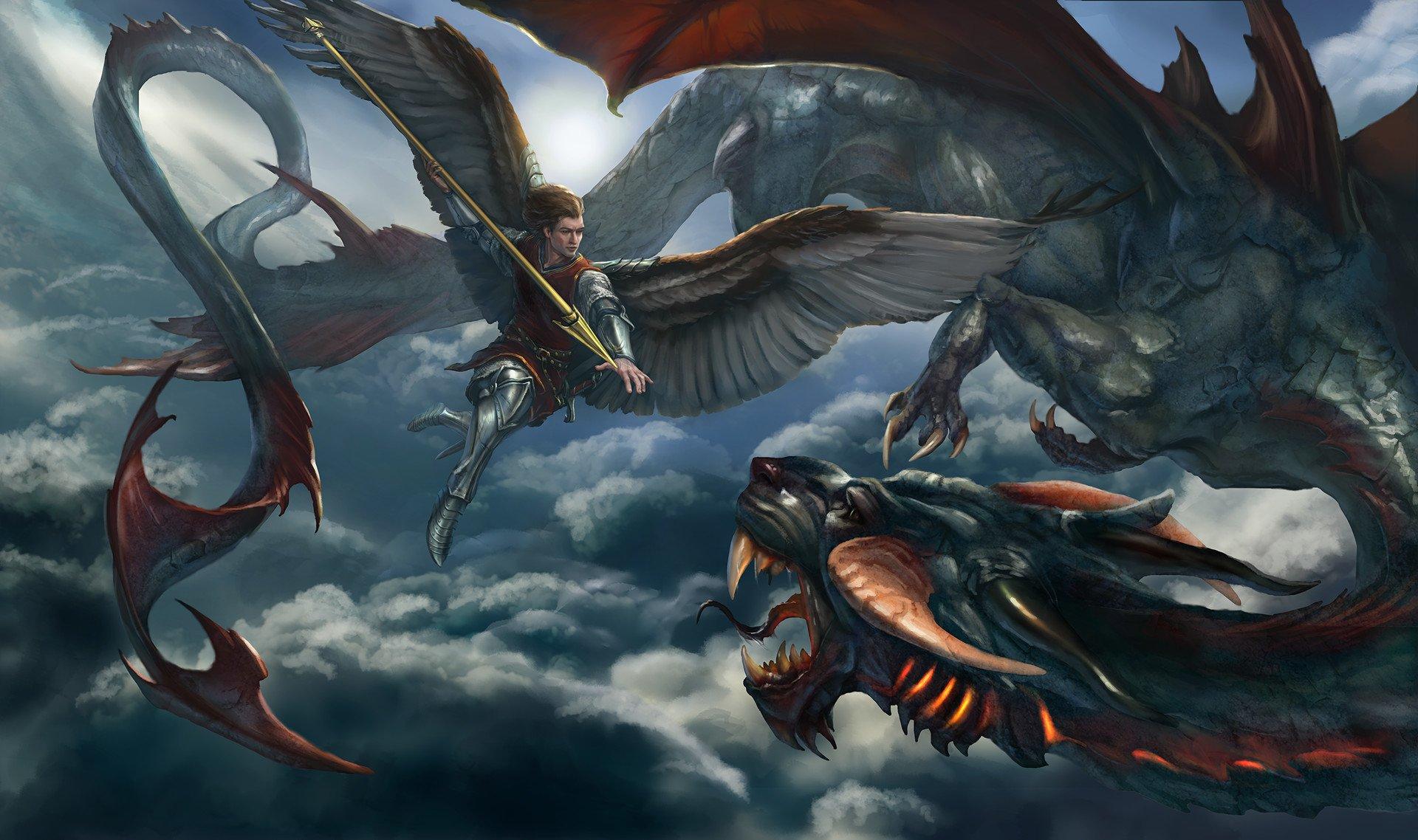 Saint Michael Vs Dragon Fondo De Pantalla Hd Fondo De