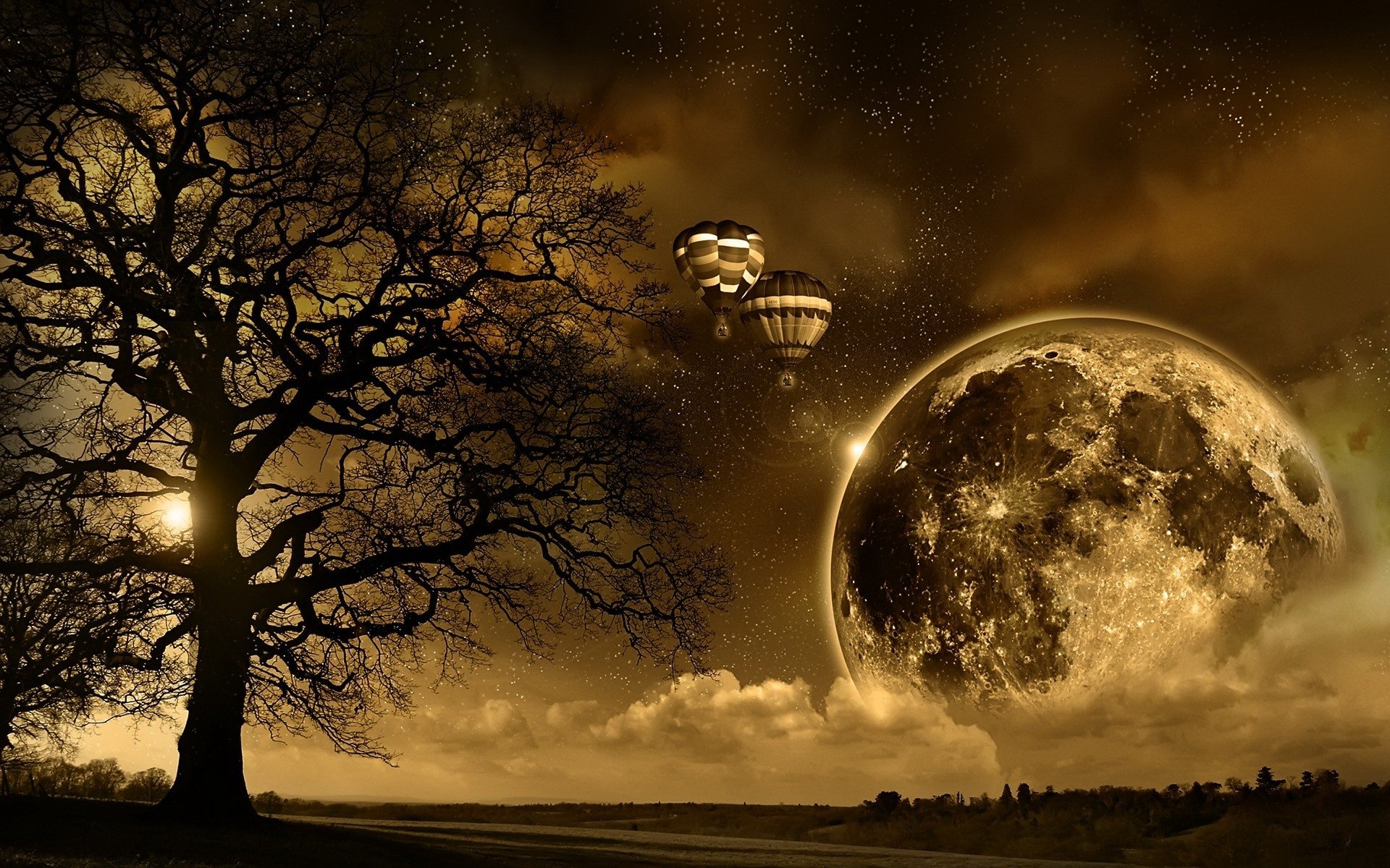 CGI - Space  Artistic Hot Air Balloon Moon Fantasy Landscape Tree Brown Wallpaper