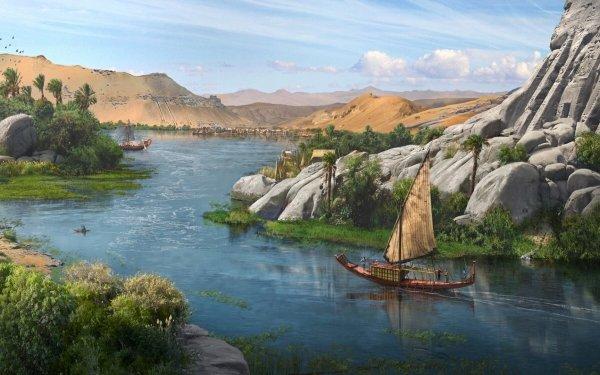 Fantasy Landscape River Ship Nile HD Wallpaper | Background Image