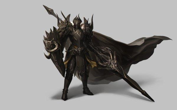 Fantasy Knight Armor Warrior Cloak Shield Spear HD Wallpaper | Background Image
