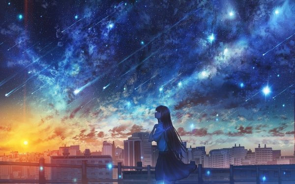 Anime Original Sunset City School Uniform Long Hair Sky Starry Sky HD Wallpaper   Background Image