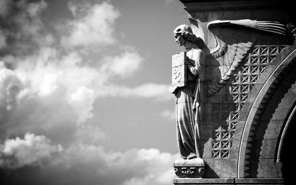 Man Made Angel Statue Statue Black & White Monochrome HD Wallpaper   Background Image