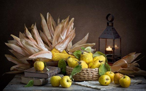 Photography Still Life Apple Corn Lantern Fruit HD Wallpaper | Background Image