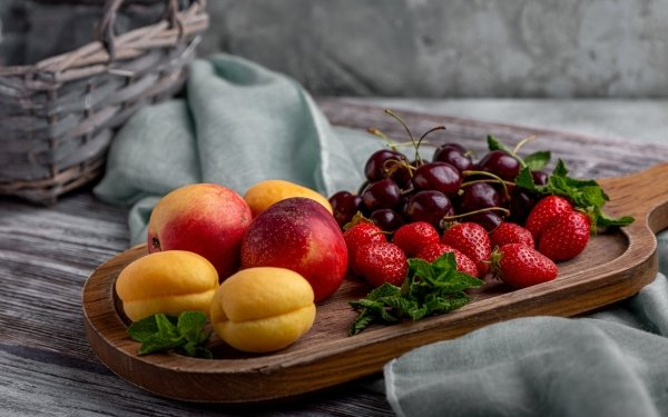 Food Fruit Fruits Berry Strawberry Cherry Peach Nectarine HD Wallpaper   Background Image