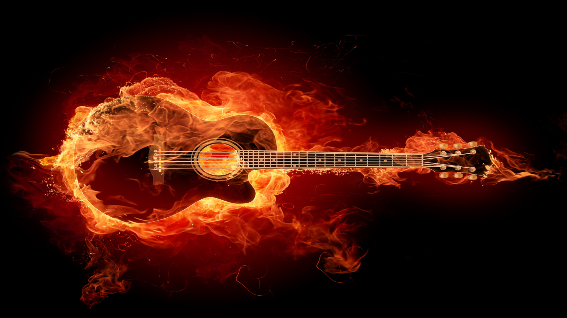 Burning Love Hd Wallpapers: Guitar Full HD Wallpaper And Background Image