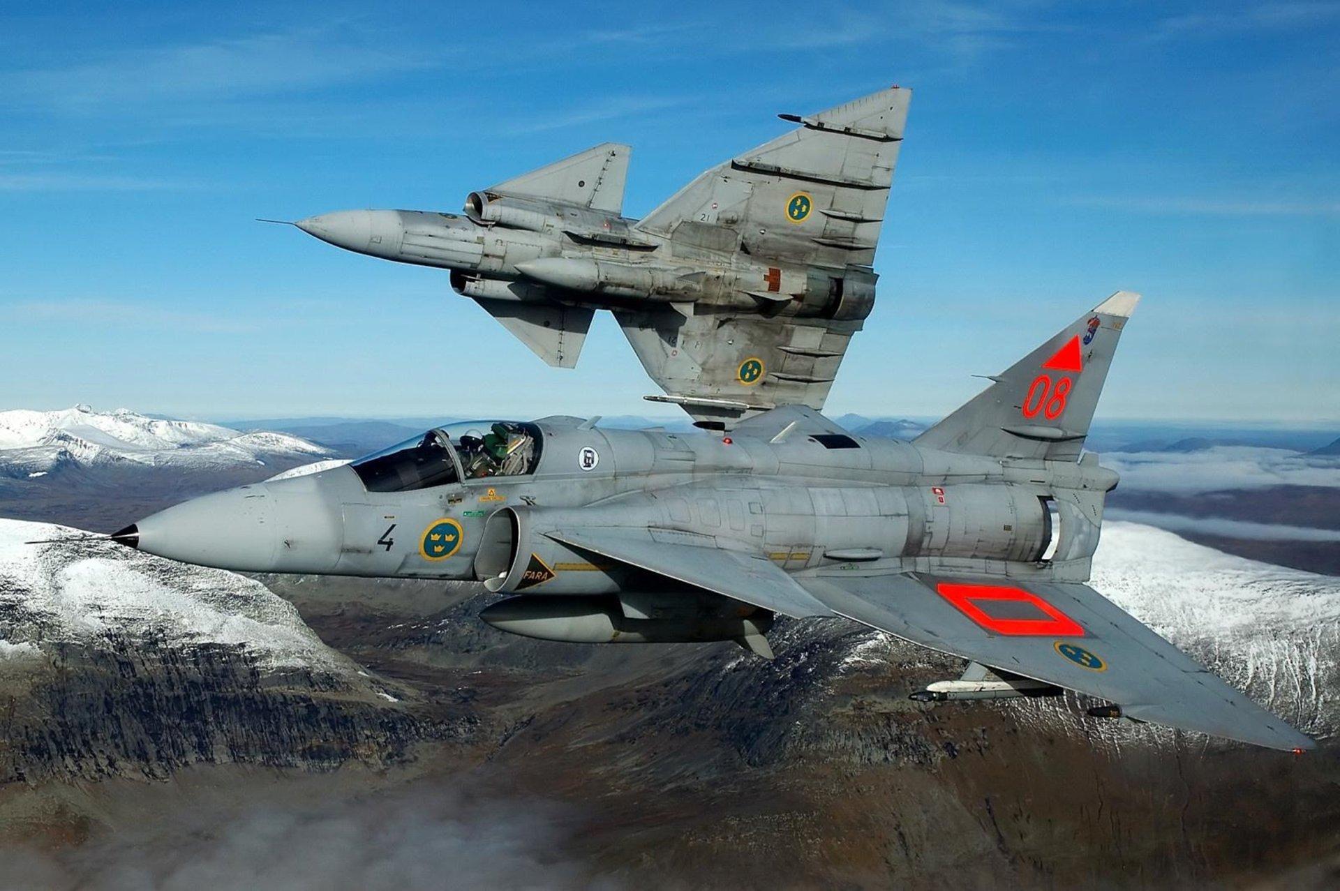 Military - Saab 37 Viggen  Sweedish Military Wallpaper