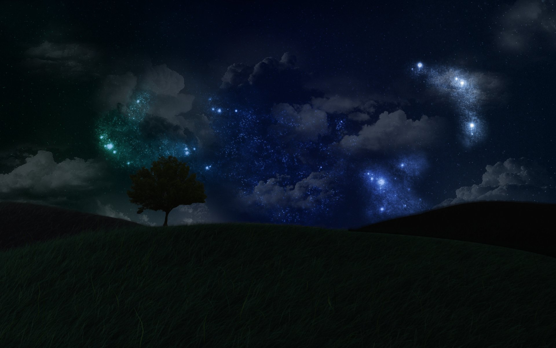 CGI - Landscape  Dark Night Stars Tree Wallpaper