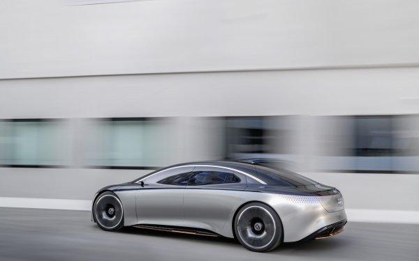 Vehicles Mercedes-Benz Vision EQS Mercedes-Benz Mercedes-Benz Vision EQ Car Electric Car Concept Car Silver Car HD Wallpaper | Background Image