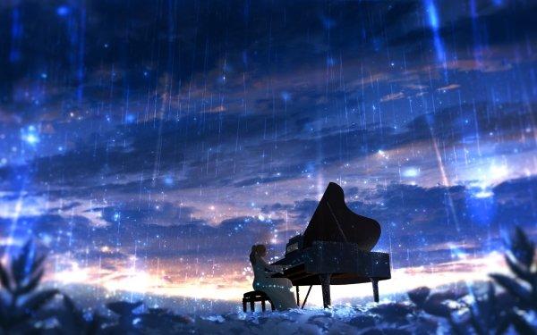 Anime Original Piano Rain HD Wallpaper | Background Image
