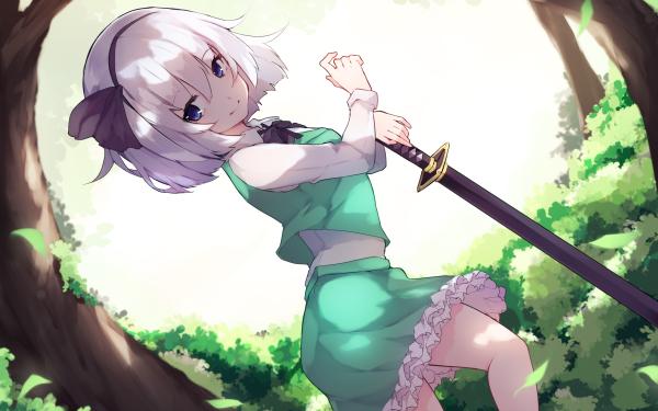 Anime Touhou Youmu Konpaku Sword White Hair HD Wallpaper   Background Image