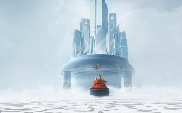 Artistic City Island Ice Helicopter Icebreaker Skyscraper HD Wallpaper | Background Image