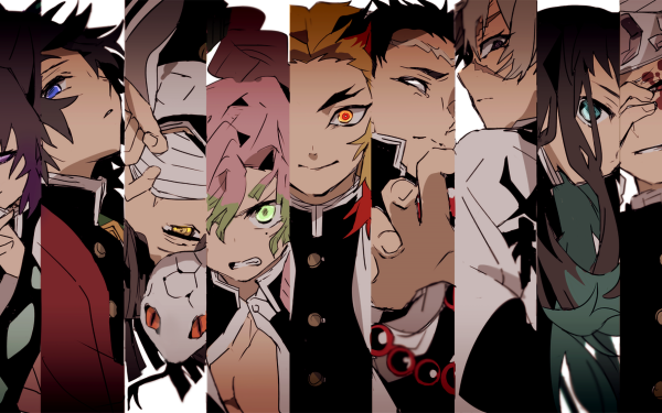 Anime Demon Slayer: Kimetsu no Yaiba Shinobu Kochou Giyuu Tomioka Obanai Iguro Mitsuri Kanroji Kyojuro Rengoku Tengen Uzui Sanemi Shinazugawa Muichiro Tokito Gyomei Himejima Fondo de pantalla HD | Fondo de Escritorio