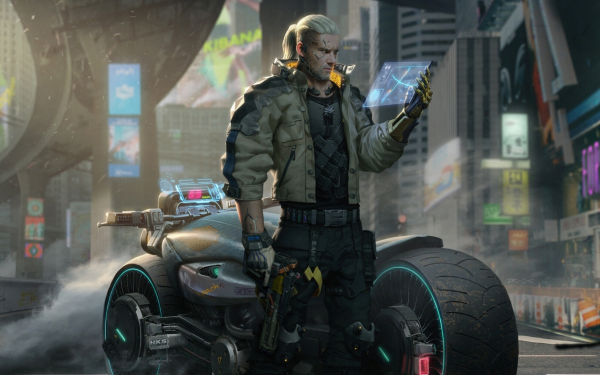 Video Game Crossover Cyberpunk 2077 The Witcher 3: Wild Hunt Geralt of Rivia HD Wallpaper   Background Image