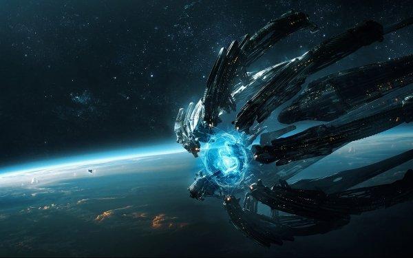 Sciencefiction Ruimteschip Planeet Landschap HD Wallpaper   Achtergrond