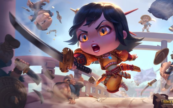 Video Game Smite Amaterasu Chibi HD Wallpaper | Background Image