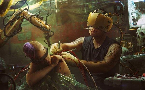 Sci Fi Cyberpunk Tattoo Futuristic Man Smoking HD Wallpaper | Background Image