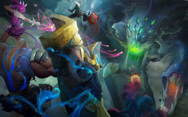 Videojuego League Of Legends Baron Nashor Braum Lux Katarina Jinx Fondo de pantalla HD | Fondo de Escritorio