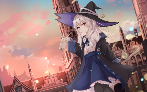 Anime Original Wizard Long Hair White Hair Purple Eyes Hat HD Wallpaper | Background Image