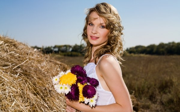 Women Model Models Flower Haystack Chrysanthemum Woman Blonde Blue Eyes Depth Of Field HD Wallpaper   Background Image