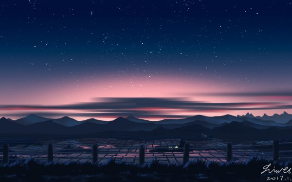 Anime Original Starry Sky Countryside HD Wallpaper   Background Image