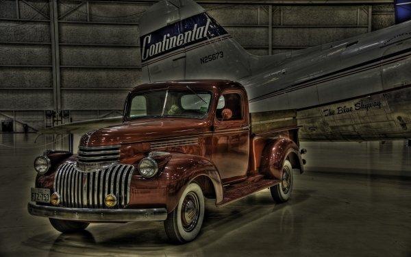 Vehicles Chevrolet Pickup  Chevrolet HDR Truck Aircraft Hangar 1941 Chevrolet Pickup Truck HD Wallpaper | Background Image