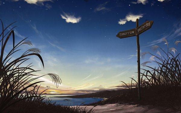 Anime Original Ocean Path Sign Starry Sky Sunrise HD Wallpaper | Background Image