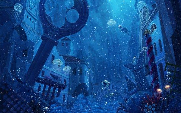 Anime Original Underwater HD Wallpaper   Background Image