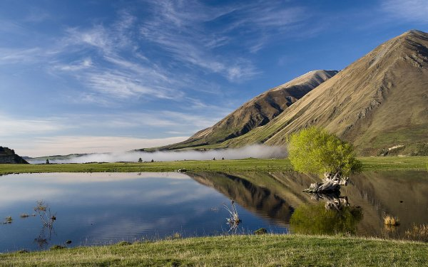 Tierra/Naturaleza Montaña Montañas Granja Pond Niebla Reflejo Azul Cielo Nube Agua Fondo de pantalla HD | Fondo de Escritorio