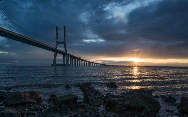 Man Made Vasco da Gama Bridge Bridges Bridge Portugal Horizon Cloud Sunrise HD Wallpaper | Background Image